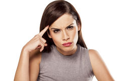 Angry pensive woman Royalty Free Stock Photos