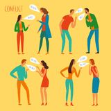 Angry people argue set. People in conflict set. Angry men and women shouting. Cartoon illustration for your design royalty free illustration