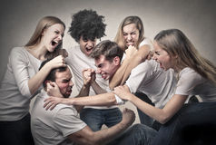 Angry people. Arguing with each others