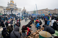 Angry people occupide main Maidan square and ask t Royalty Free Stock Photos