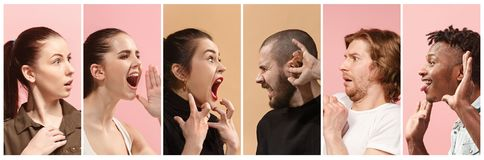 Angry people screaming. The collage of different human facial expressions, emotions and feelings of young men and women. The men and women in profile isolated Stock Image