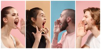 Angry people screaming. The collage of different human facial expressions, emotions and feelings of young men and women. The men and women in profile isolated Royalty Free Stock Images