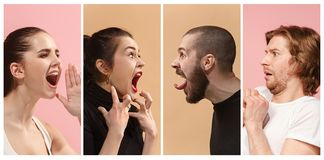 Angry people screaming. The collage of different human facial expressions, emotions and feelings of young men and women. The men and women in profile isolated Stock Photos