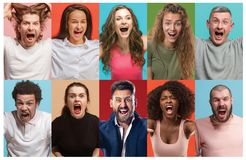 Angry people screaming. The collage of different human facial expressions, emotions and feelings of young men and women. royalty free stock photography