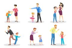 Angry people screaming at young children set. Conflict in the family. Furious mother and father in anger. Punishment from parent. Vector illustration in vector illustration