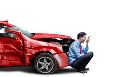 Angry person and broken car Stock Images