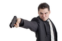 Angry person with a gun Royalty Free Stock Image