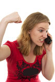 Angry on the phone Royalty Free Stock Image