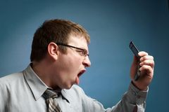 Angry On Phone Royalty Free Stock Image