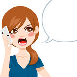 Angry Phone Call. Young woman upset screaming angry in a phone call conversation vector illustration