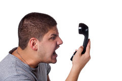 Angry Phone Conversation Stock Images