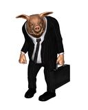 Angry Pig dressed as Business Man - 1. 3d Digital render of an angry pig dressed as a businessman and carrying a briefcase Stock Photography