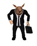 Angry Pig dressed as Business Man - 2. 3d Digital render of an angry pig dressed as a businessman and carrying a briefcase Stock Photo