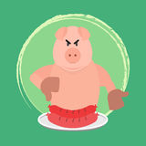 Angry pig and no sausage Royalty Free Stock Images