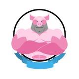 Angry pig Round emblem. Big boar bodybuilder. Vector logo farm a Stock Photos