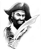Angry pirate. Furious bearded pirate with a sable. Ink black and white illustration Royalty Free Stock Photos