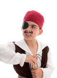 Angry pirate holding a scope. An angry young pirate with eye patch holds a telescope.  White backgruond Royalty Free Stock Images