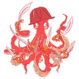 Angry pirate-octopus with arms. Sword, dagger, blade. Aggressive Royalty Free Stock Photo