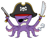 Angry Pirate Octopus Cartoon Mascot Character With A Sword Gun And Hook Stock Photography