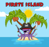 Angry Pirate Octopus Cartoon Mascot Character With A Sword Gun And Hook On A Tropical Island Royalty Free Stock Photography