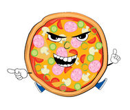 Angry pizza cartoon Royalty Free Stock Image
