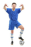 Angry player shouting and giving thumbs down. An angry soccer player shouting and giving thumbs down isolated on white background Stock Photography