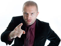 Angry Pointing Businessman Stock Images