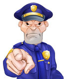 Angry Pointing Police Officer Royalty Free Stock Photography