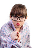 Angry Pointing Woman. The young girl, angry to point a forefinger Royalty Free Stock Photography
