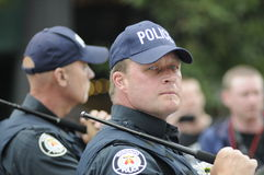 Angry police officer. Stock Photos