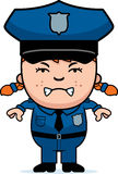 Angry Police Officer. A cartoon illustration of a police officer girl looking angry Stock Image