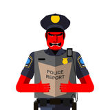 Angry policeman shouts. Dreaded red man in a uniform. Vector ill Stock Image