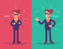Angry and positive businessmen. Funny  characters with mood icons on background. Angry and positive businessmen. Funny  characters with mood icons on background Stock Images