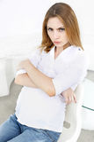 Angry pregnant woman Stock Photography