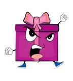 Angry present box cartoon Royalty Free Stock Photos