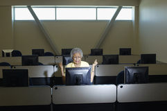 Angry Professor In Computer Class Stock Images