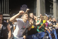Angry protesters chanting at pro-choice rally Royalty Free Stock Images