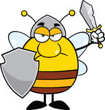 Angry Pudgy Bee Warrior With Shield And Sword Stock Photography