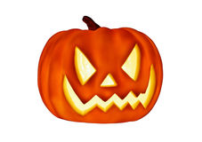 Angry Pumpkin. Glowing Pumpkin for Halloween isolated on pure white background Royalty Free Stock Photos