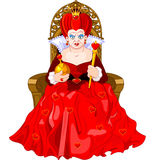 Angry Queen on throne. Angry Queen of Hearts on throne royalty free illustration