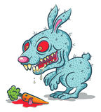 Angry rabbit. Illustration of an evil bunny and carrot Royalty Free Stock Photos