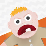Angry rage. Small child with an angry rage vector illustration