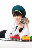 Angry railroad worker look at you Royalty Free Stock Images