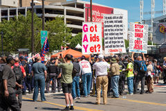 Angry rally. CLEVELAND, OH - JULY 20, 2016: A hard-core extremist religious group draws a crowd of the curious onlookers on Prospect Avenue during the Republican Royalty Free Stock Photos