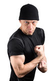 Angry ready to fight man in black isolated on white Royalty Free Stock Photography