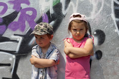Angry  rebellious children Royalty Free Stock Image