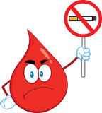 Angry Red Blood Drop Cartoon Mascot Character Holding Up A No Smoking Sign Stock Photo