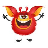 Angry red cartoon monster waving hands. Halloween vector illustration. Angry red cartoon monster waving hands. Halloween vector illustration Stock Photos