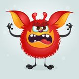Angry red cartoon monster waving hands. Halloween vector illustration. Angry red cartoon monster waving hands. Halloween vector illustration Royalty Free Stock Photography