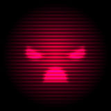 Angry red smile. Sci-Fi Red Angry Emoticons. Emoji Neon Style Illustrations. Vector EPS10 Royalty Free Stock Image